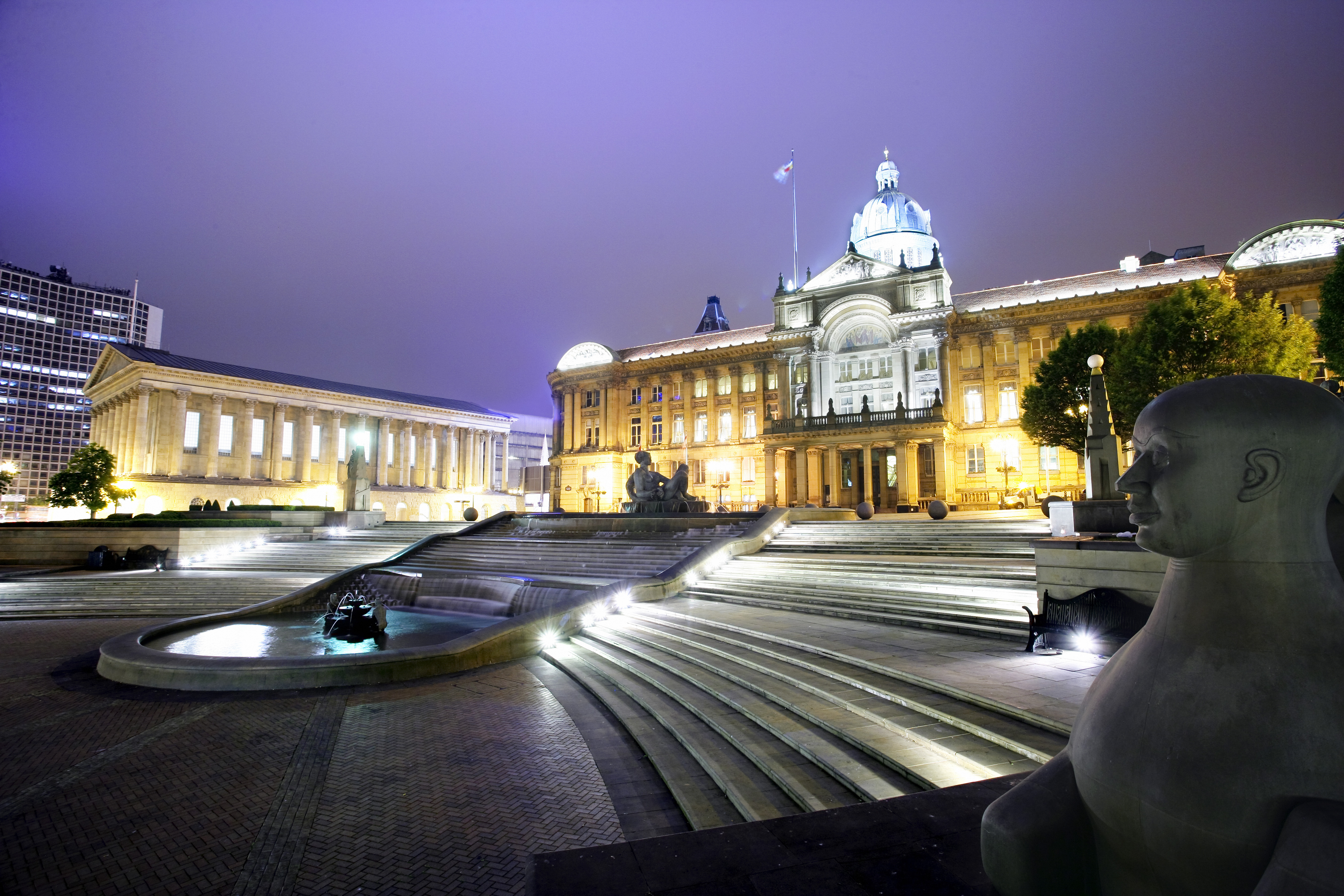 Victoria Square and Birmingham City Council House and Town Hall at dusk
