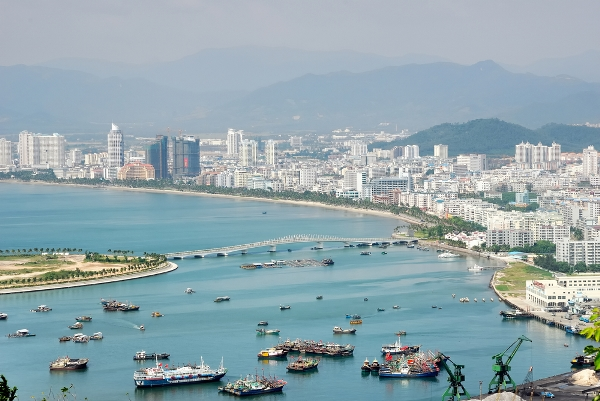 Aerial-view-of-Sanya-City-on-Hainan-Island-China